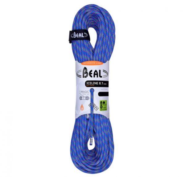 BEAL ICE LINE UNICORE 8.1 mm DRY COVER ROPE MEZZA CORDA blu